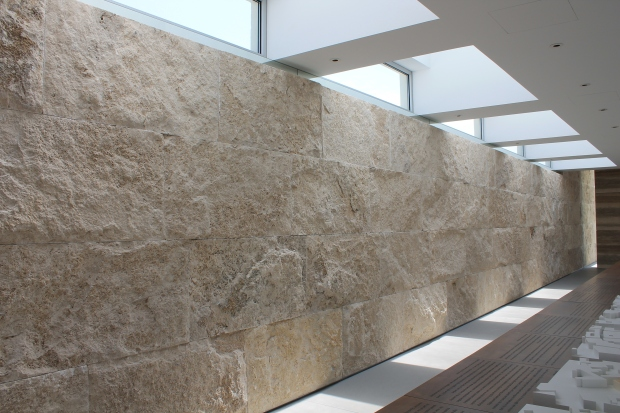 13-10-Kavi Kittani-wall of split face Travertine stone from Tuscany.