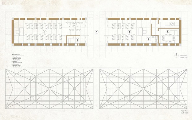 34_Darfur-Refugee-School_Abeche_Chad_Africa_floor-plan-and-roof-plan